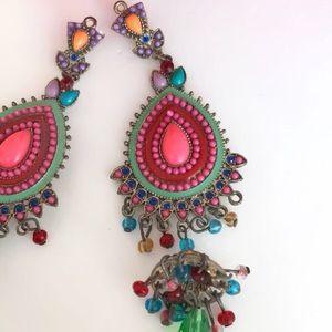 Jewelry - Bohemian style multicolor long dangle earrings